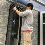 名古屋市中村区、防犯フィルム・玄関/窓の主錠増設・高所防犯対策工事が完了。