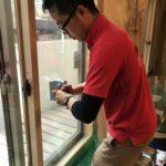 防犯リフォーム、名古屋市昭和区、防犯フィルム・玄関/勝手口錠の増設工事が完了。