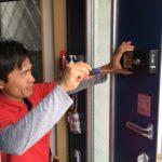 防犯リフォーム、名古屋市北区、電子錠・防犯窓鍵・防犯フィルムの施工が完了。