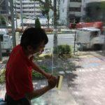 暑さ対策工事、名古屋市千種区、透明度の高い遮熱フィルムでの施工が完了。