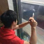 防犯リフォーム、名古屋市名東区、玄関/勝手口/窓の主錠増設・防犯フィルム施工が完了。