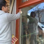 空き巣対策、名古屋市名東区、店舗での防犯フィルム施工工事が完了。