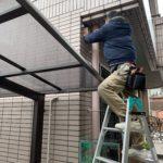 空き巣対策、名古屋市北区、架空配線の伴う防犯カメラ設置工事が完了。