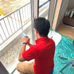 防犯対策、名古屋市西区での防犯フィルム・玄関/勝手口3ロック・防犯窓鍵設置工事が完了。