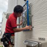 空き巣対策、名古屋市名東区、防犯フィルム/格子・主錠増設・人感センサーライト設置工事が完了。