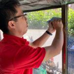 防犯対策、名古屋市中村区、防犯フィルム/窓鍵/ライト/錠増設工事が完了。
